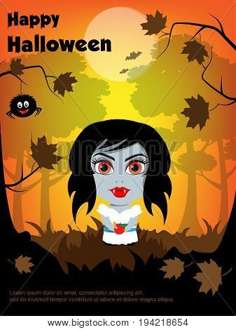 Illustration for greeting cards, invitations for Halloween. Vampire girl in the dark woods, holding an Apple. Spider on a branch, bat on moon background.