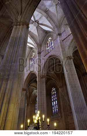 Portugal Batalha - June 4 2017:  Interior of the Monastery of Batalha is a Dominican convent in the civil parish of Batalha Portugal. Originally known as the Monastery of Saint Mary of the Victory