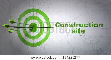 Success building construction concept: arrows hitting the center of target, Green Construction Site on wall background, 3D rendering