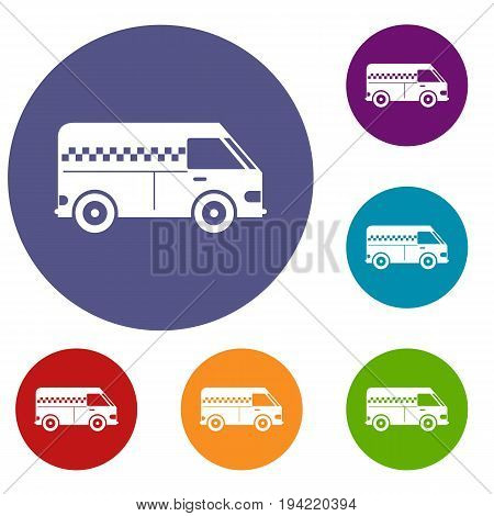 Minibus taxi icons set in flat circle reb, blue and green color for web