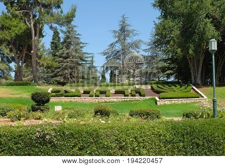 JERUSALEM ISRAEL - JUNE 26 2017: Mount Herzl - Hill and National Cemetery in Jerusalem. Inscription: Mount Herzl
