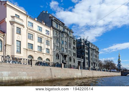 SAINT PETERSBURG RUSSIA - MAY 3 2017: Profitable house of R.G. Vege on quay of Kryukov Canal St. Petersburg Russia