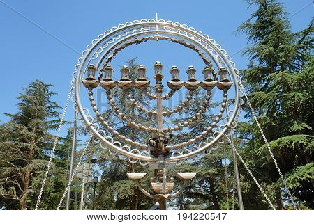 Menorat Hanukkah on Mount Herzl - Hill and National Cemetery in Jerusalem