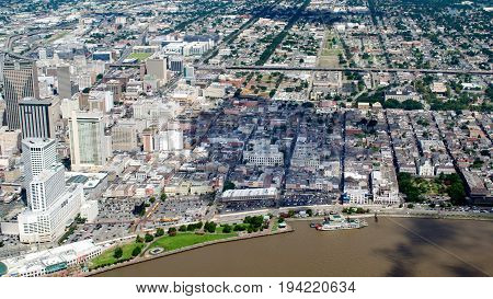 Aerial view of French Quarter and Downtown New Orleans Louisiana
