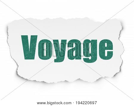 Vacation concept: Painted green text Voyage on Torn Paper background with  Tag Cloud