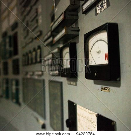 Control panel of the nuclear power plant. Close up.