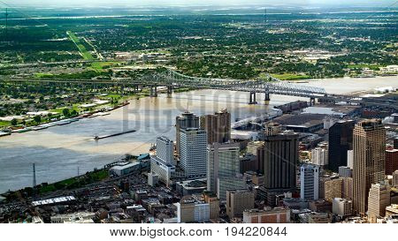 Aerial view of Downtown New Orleans Louisiana and Crescent City Connection Bridge