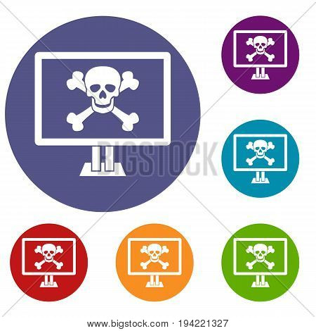 Computer monitor with a skull and bones icons set in flat circle reb, blue and green color for web