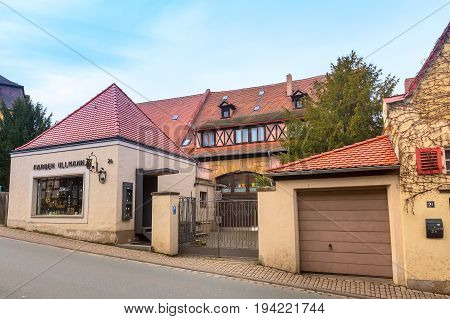 Bamberg, Germany - February 19, 2017: Bamberg city center street view with half-timbered colorful houses