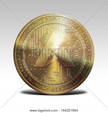 golden ardor coin isolated on white background 3d rendering illustration