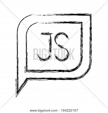 monochrome blurred silhouette dialogue square with tail with js symbol vector illustration