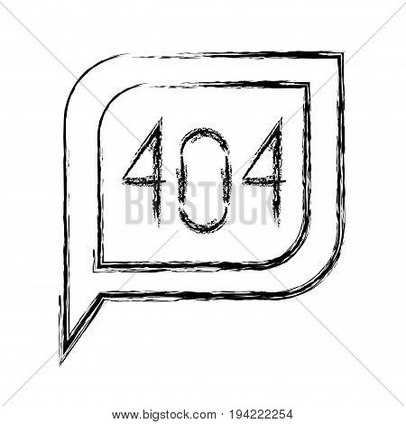 monochrome blurred silhouette dialogue square with tail with 404 html error symbol vector illustration