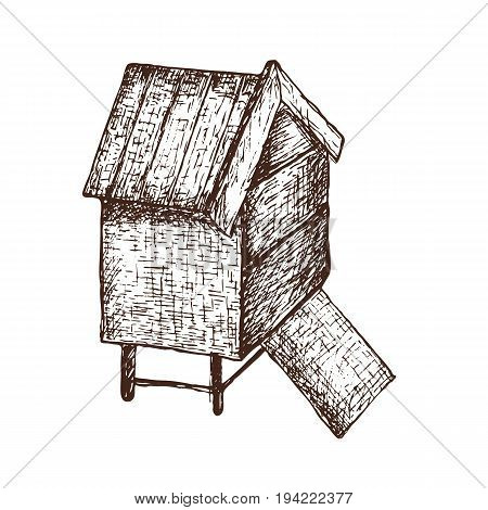Hand drawn ink sketch illustration of apiary beehive organic nature product. Vector