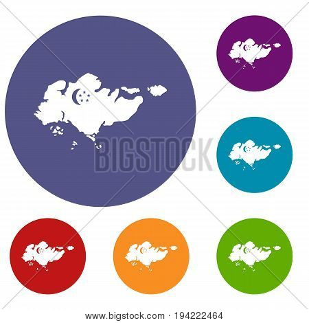 Map of Singapore with flag icons set in flat circle reb, blue and green color for web