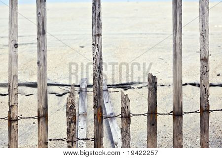 Fence For Protection Of The Dunes At The Beautiful Natural Beach