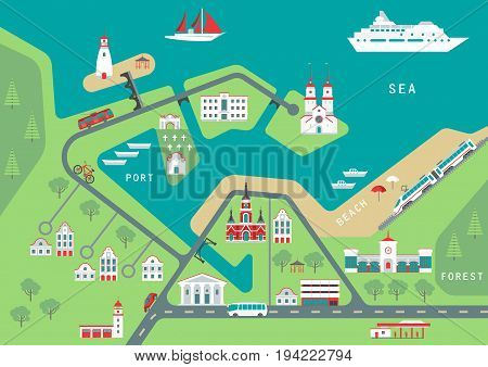 Vector scheme of nonexistent flat seaside town with various buildings bridges churches and transport. Template for tourist map of resort city.