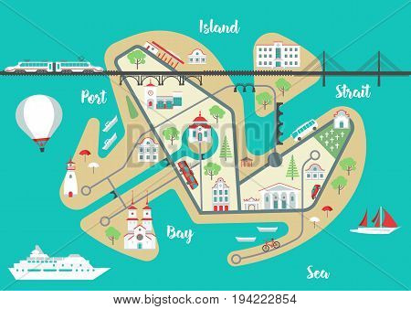 Vector scheme of nonexistent flat Island city with various buildings bridges churches and transport. Template for tourist map of resort city.