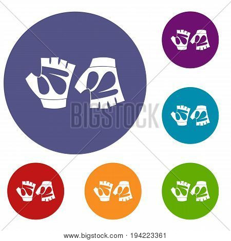 Cycling gloves icons set in flat circle reb, blue and green color for web