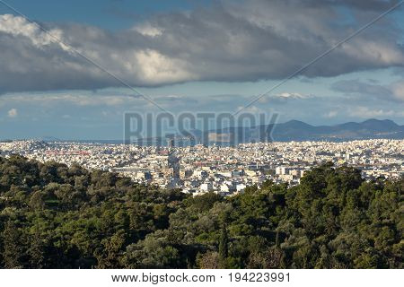 Amazing panorama from Acropolis to city of Athens, Attica, Greece