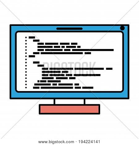 silhouette color sections of lcd monitor with screen programming window with script code vector illustration