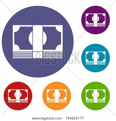 Swiss Franc banknote icons set in flat circle reb, blue and green color for web