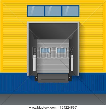 Vector illustration about logistics transportation. Facade of modern warehouse of yellow and blue sandwich panels with airtight door gates (dock shelter).