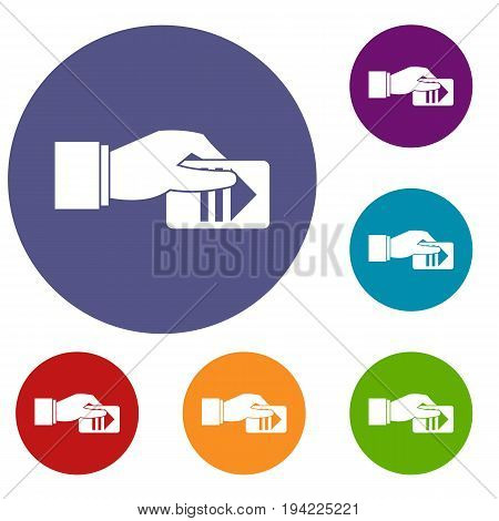 Hand with parking ticket icons set in flat circle reb, blue and green color for web