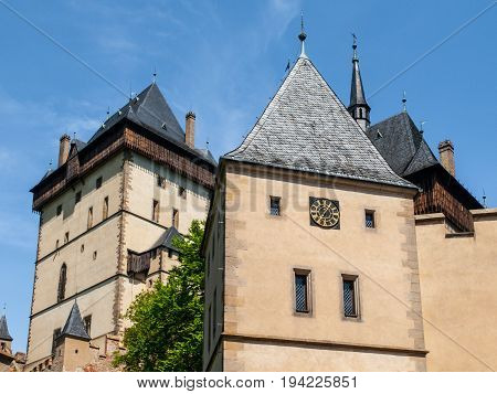 Three towers of Karlstejn castle in Central Bohemia, Czech Republic.