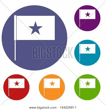 Vietnam flag icons set in flat circle reb, blue and green color for web