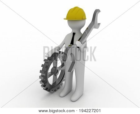 3d man with wrench . 3d rendered illustration
