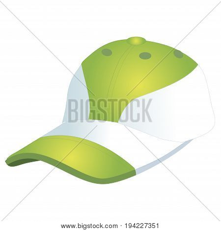 Fashionable sports baseball cap green with white. Isolated on white background. Vector