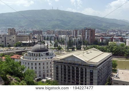 SKOPJE, REPUBLIC OF MACEDONIA - 13 MAY 2017: Panorama to city of Skopje from fortress (Kale fortress) in the Old Town, Republic of Macedonia