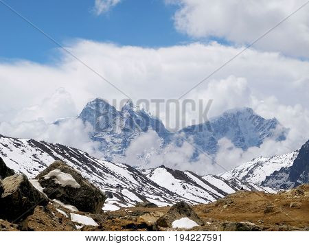 View of the Himalayan mountains on the trek to Everest base camp Nepal