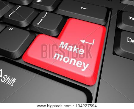 keyboard with make money button . 3d rendered illustration