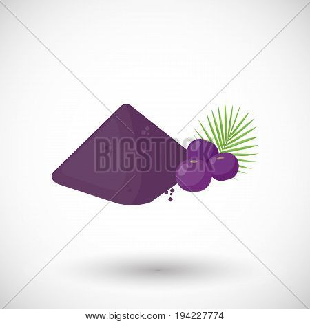 Acai berries powder vector flat icon Flat design of superfood or healthy eating object with round shadow isolated on the white background cute vector illustration with reflections