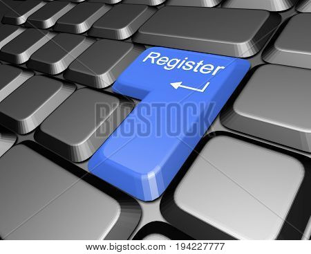 keyboard with register button . 3d rendered illustration