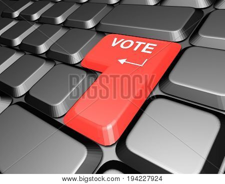 keyboard with vote button , 3d rendered illustration