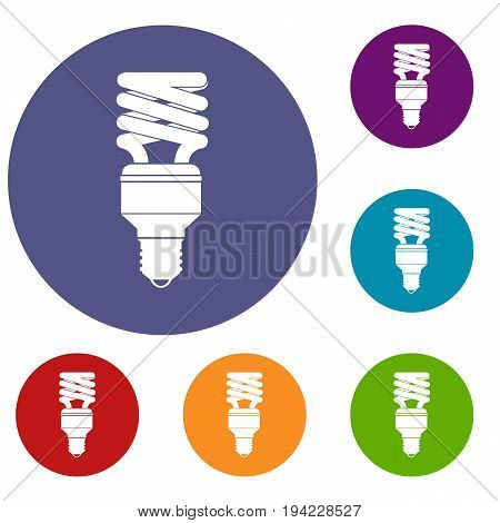 Energy saving bulb icons set in flat circle reb, blue and green color for web