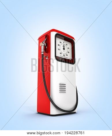 Retro Red Fuel Pump Isolated On Blue Gradient Background Background 3D