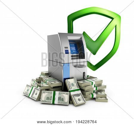 Atm Surrounded By 100 Dollar Bankrolls With Shield Bank Protection Concept Bank Cash Machine In Pile