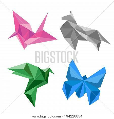 Origami birds flying. Paper birds origami. Silhouettes of birds from paper. Origami birds abstract.
