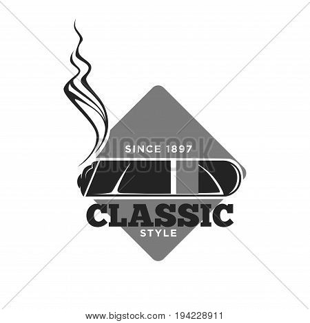 Classic style cigars since 1897 promotional monochrome emblem. Alight tobacco product with curl of smoke, grey rhombus behind and signs around isolated vector illustration on white background.