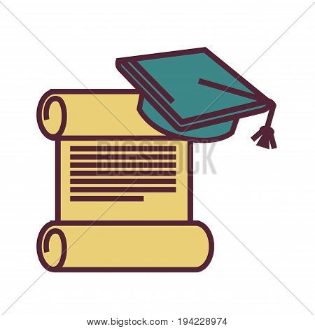 Old deployed yellow parchment with text and blue square academic cap with tassel isolated flat cartoon vector illustration on white background. Traditional school and university graduation symbols.