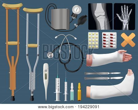 Set of medicine surgical traumatology objects. Treatment of bone fracture. Plaster splint crutch x-ray arm and leg in plaster splint medical instruments. Isolated objects. Vector illustration.