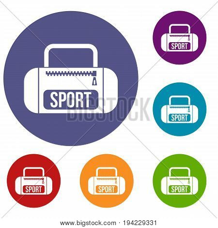 Sports bag icons set in flat circle reb, blue and green color for web
