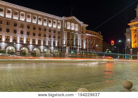 SOFIA, BULGARIA - JUNE 30, 2017: Night photo of Building of Council of Ministers in Sofia, Bulgaria