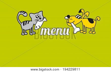 funny cat and dog eating food. little home animal concept poster. cute pet childish vector illustration