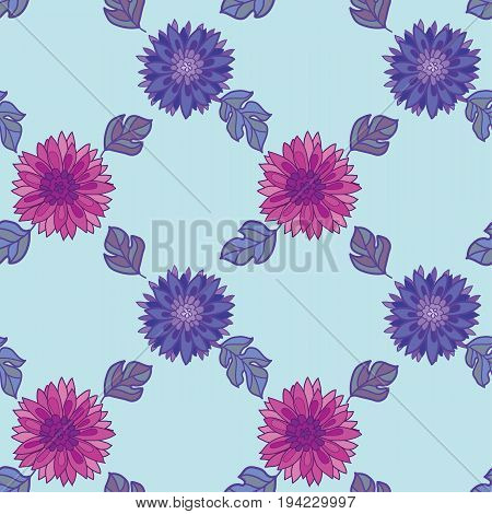 chrysanthemum flower tile design element.  aster floral decorative vector illustration. fall blossom in violet colors repeatable motif. autumn flowers rustic peasant style seamless pattern