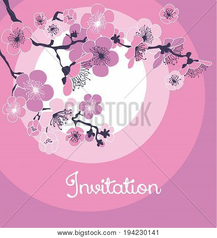 rosy tender color cherry blossom over the sun. vector illustration