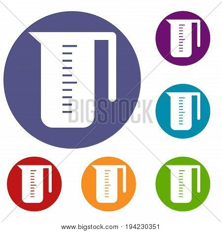 Measuring cup icons set in flat circle reb, blue and green color for web